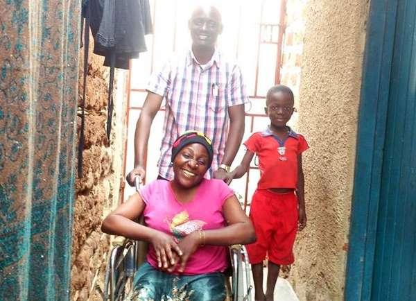 Sarah Namusoke gets a wheelchair